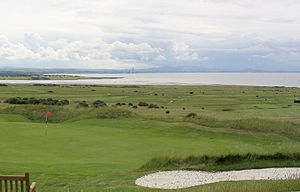 Gullane - Aberlady Bay and Pentland Hills over the golf courses