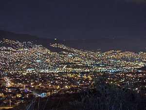 View of Medellín at night