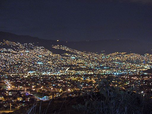 View of Medellín at night