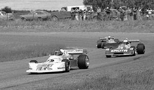Edmonton International Speedway - Gilles Villeneuve and Keke Rosberg at Edmonton International Speedway Formula Atlantic race, 1977.