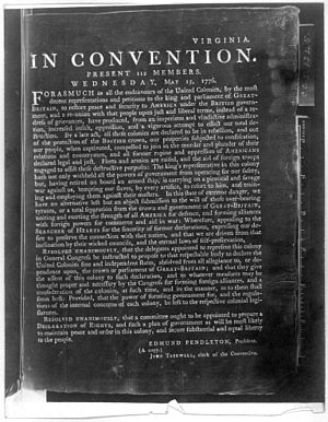 Edmund Pendleton - Sent to Virginia Delegation to the Continental Congress and Richard Henry Lee to move for Independence Lee Resolution June 7, 1776.
