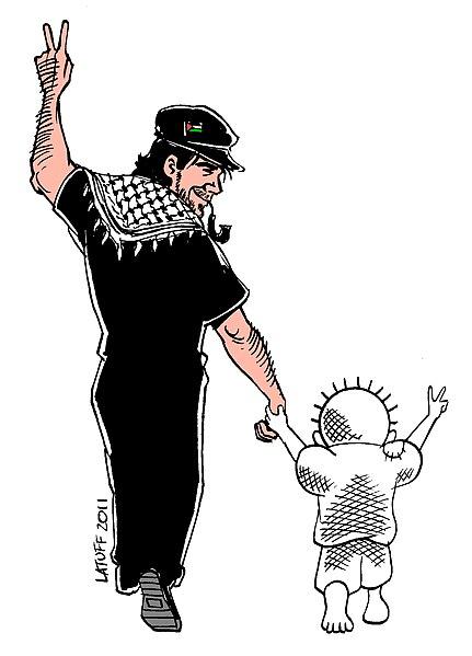 Zeichnung: Vittorio Arrigoni mit Palästinensertuch am Hals und Kind an der Hand.