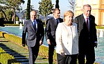 Vladimir Putin, Emmanuel Macron, Angela Merkel and Recep Tayyip Erdoğan during the Summit for Syria.jpg