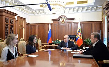Vladimir Putin meets with Marianna Voloshina and Ekaterina Korneluk 2016-05-25 01.jpg