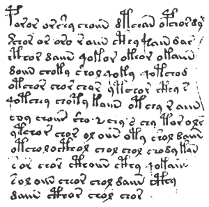 Text sample from the Voynich manuscript.