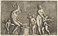 Vulcan seated hammering on an anvil flanked by Venus and three cupids MET DP818618.jpg