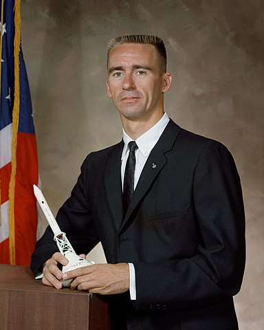 Astronaut Walter Cunningham, NASA photo (10 September 1964)Source: Wikipedia (NASA site unavailable March 2019) 384px-Walter_Cunningham.jpg