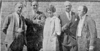 Mina Crandon - From left to right. Walter Franklin Prince, Daniel Frost Comstock, Mina Crandon, O. D. Munn, Harry Houdini.