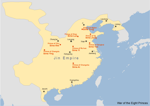 Sima Ai - Map showing the Wars of the Eight Princes