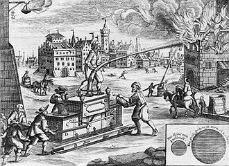 Georg Andreas Böckler - Illustration from Georg Andreas Böckler's Theatrum Machinarum Novum showing men operating a water pump to put out a fire (1661, Nuremberg in German; Cologne in Latin in 1662)