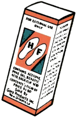 Drawing of a box of H.F. from Gore Products
