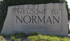 Norman, Oklahoma - Welcome marker on Main Street
