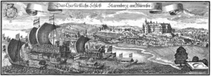 Ferdinand Maria, Elector of Bavaria - Copperplate engraving by Michael Wening Starnberg Castle with Ferdinand Maria's gondola Bucentaurus in Topographia Bavariae about 1700
