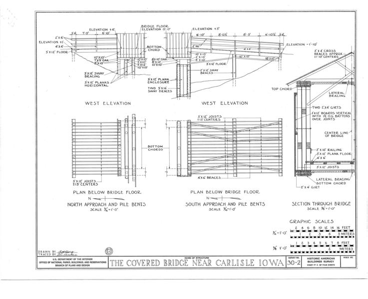 File west elevation plan below bridge floor section for Covered bridge design plans