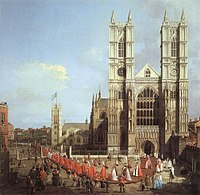 Westminster Abbey with a procession of Knights of the Bath, by Canaletto, 1749.