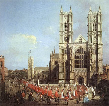 Westminster Abbey, as seen in this painting (by Canaletto, 1749), is a World Heritage Site and one of London's oldest and most important buildings. Westminster Abbey by Canaletto, 1749.jpg