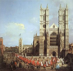 Westminster Abbey with a procession of Knights of the Bath, by Canaletto, 1749