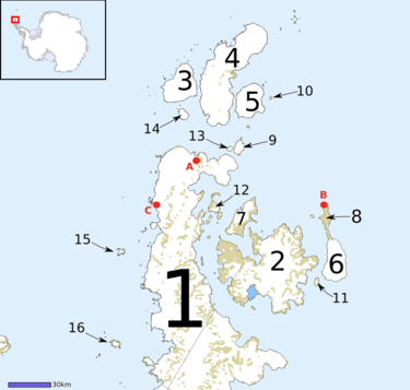 Northern Graham Land and the surrounding islands. 1 Antarctic Peninsula, 2 James Ross Island, 3 D'Urville Island, 4 Joinville Island, 5 Dundee Island, 6 Snow Hill Island, 7 Vega Island, 8 Seymour Island, 9 Andersson Island, 10 Paulet Island, 11 Lockyer Island, 12 Eagle Island, 13 Jonassen Island, 14 Bransfield Island, 15 Astrolabe Island, 16 Tower Island Wfm antarctic peninsula islands.png
