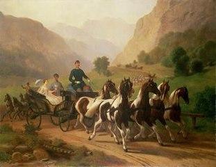 Kaiser Franz Joseph (1830 - 1916) und seine Braut bei einer Ausfahrt in der Umgebung von Ischl
