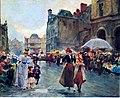 Wilhelm Schreuer (geb.1866, gest.1933), Markttag am Burgplatz, gemalt 1897, Pappe- Höhe 29,5, Breite 35,5 cm.jpg