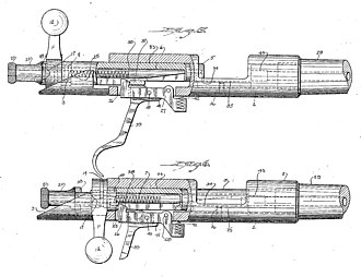 Winchester Model 52 - Patent drawing of Johnson and Burton's revised magazine-fed action