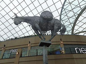 Trinity Leeds - The sculpture Equus Altus - a packhorse carrying cloth