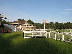 Horseracing in Scotland - Winning post at Perth Racecourse