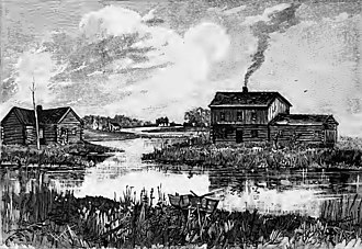 Wolf Point, Chicago - View of Wolf Point from the south as it might have appeared in 1830 (published in 1884); the Wolf Point Tavern is on the left, the Miller Tavern is on the right