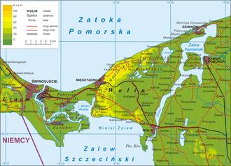 Dziwna - map of the Dziwna (right) and its region