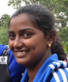 Deepika Kumari - (Born 13 June 1994) is an Indian athlete who competes in the event of archery, is currently ranked World No. 9, and is a former world number one. She won a gold medal in the 2010 Commonwealth games in the womens individual recurve event. She also won a gold medal in the same competition in the womens team recurve event along with Dola Banerjee and Bombayala Devi.