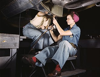 Douglas Aircraft Company - Women at work on bomber, Douglas Aircraft Company, Long Beach, California in October 1942