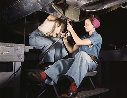 Women at work on bomber, Douglas Aircraft Company, Long Beach, California in October 1942 Women working at Douglas Aircraft.jpg