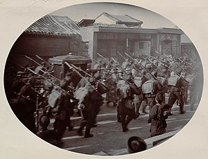 Wuwei Corps - Troops of the Wuwei Corps led by Yuan Shikai escorting Empress Dowager Cixi back to the Forbidden City in 1902