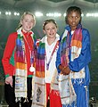 XIX Commonwealth Games-2010 Delhi Winners of 100m (Women's T37) Hart Katrina of England (Gold), Mcloughlin Jenny of Wales (Silver) and Benson Johanna of Namibia (Bronze).jpg