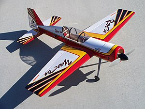 Park flyer - This Carl Goldberg Products model of a Yakovlev Yak-54 is an example of a high-performance, fully aerobatic park flyer-class plane