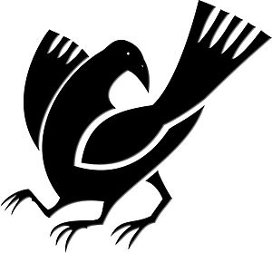 Three-legged crow - Japanese kamon. Three-legged crow commonly found in mythology and art.