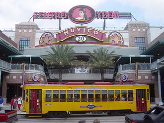 Ybor City - Centro Ybor complex with a TECO Line car passing in front