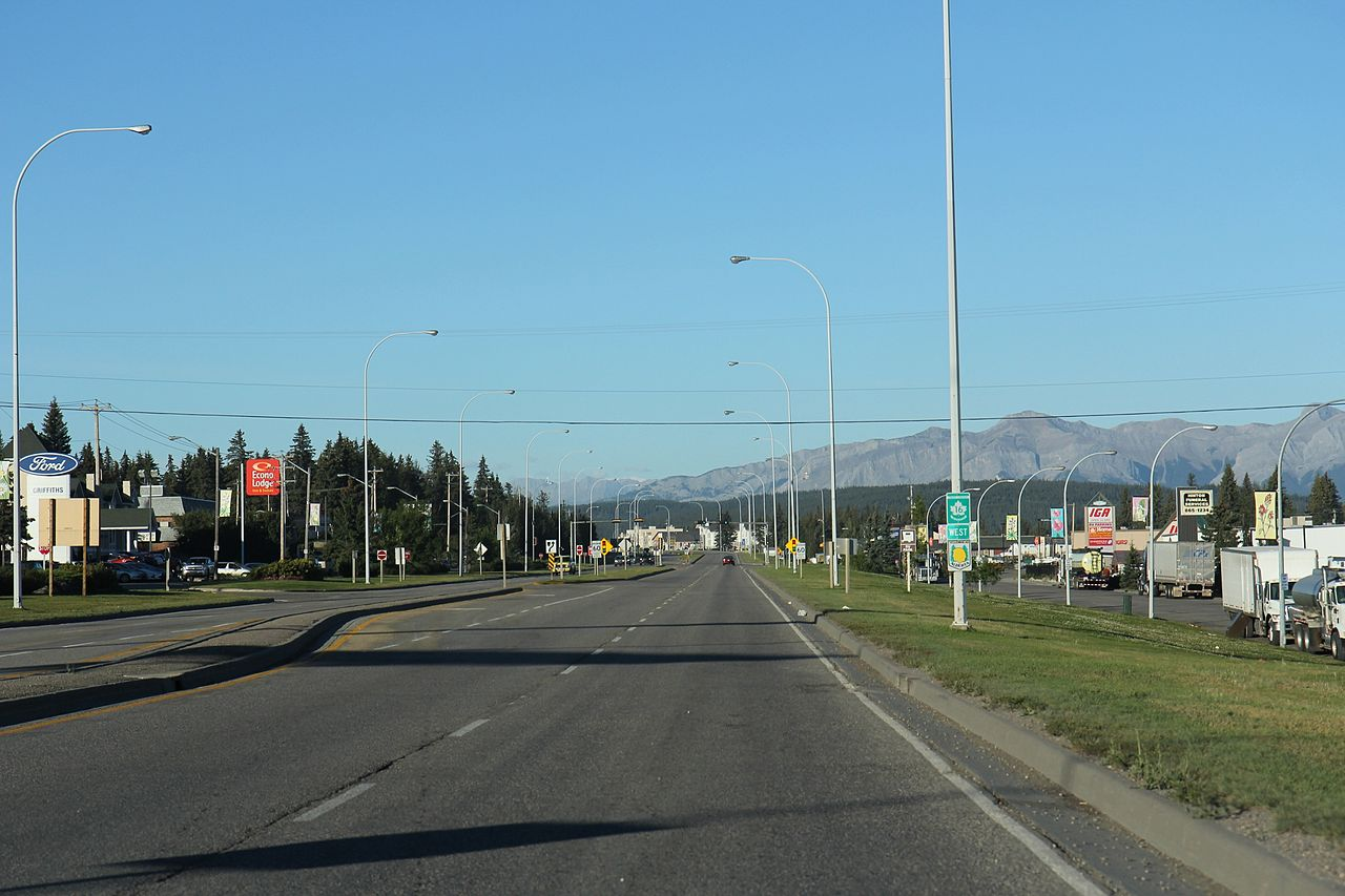 Hinton (AB) Canada  City pictures : Yellowhead Highway Trans Canada 16 highway in Hinton AB looking ...