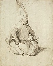A Janissary sketched by the renowned Venetian artist Gentile Bellini (1429-1507) who also painted the famous portrait of Sultan Mehmed II