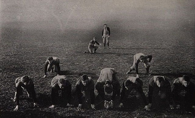 1905 photo demonstrating offensive football formation - History of Football (American)