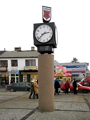 Łuków - Town-clock at Freedom and Solidarity Square, Łuków