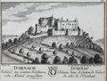 Zentralbibliothek Solothurn - DORNACH Schloss im Canton Solothurn von Abend anzusehen Wappen in der Mitte DORNAC Château dans le Canton de Soleure du côte de lOccident - a0557.tif