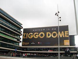 De voorzijde (entreegebouw) van de Ziggo Dome