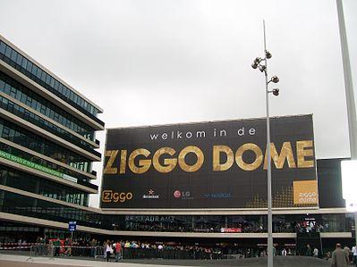 De voorzijde (entreegebouw) van het Ziggo Dome
