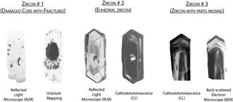 Detrital zircon geochronology - Fig. 3 – Schematic images of 3 zircons under different imaging instruments. Modified from Corfu et al. (2003), Nemchin and Pidgeon (1997) and J.M. Hanchar
