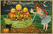 """A Merry Halloween."" (Girl blowing a horn with three Jack-o-Lanterns)"