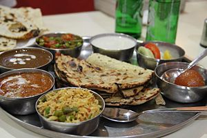 Diet in Hinduism - Image: '8' A Thali, a traditional style of serving meal in India
