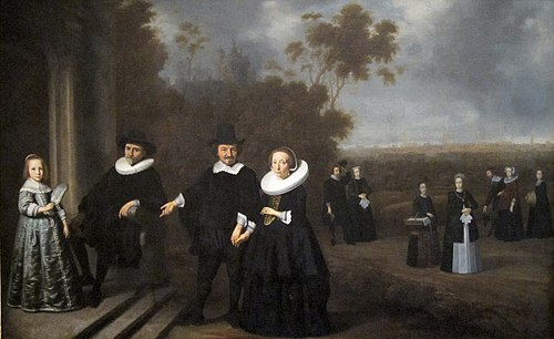 The Burgomaster's Family, possibly painted by Gerard Donck c. 1640 'The Burgomaster's Family', Dutch oil on canvas painting, c. 1640, Honolulu Academy of Arts.jpg