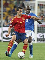 Arbeloa on the ball during the Euro 2012 final