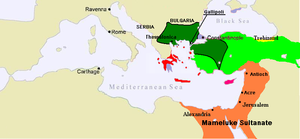 Burji dynasty - Map of the Mamluk Sultanate (orange), under Burji dynasty rule in 1389.